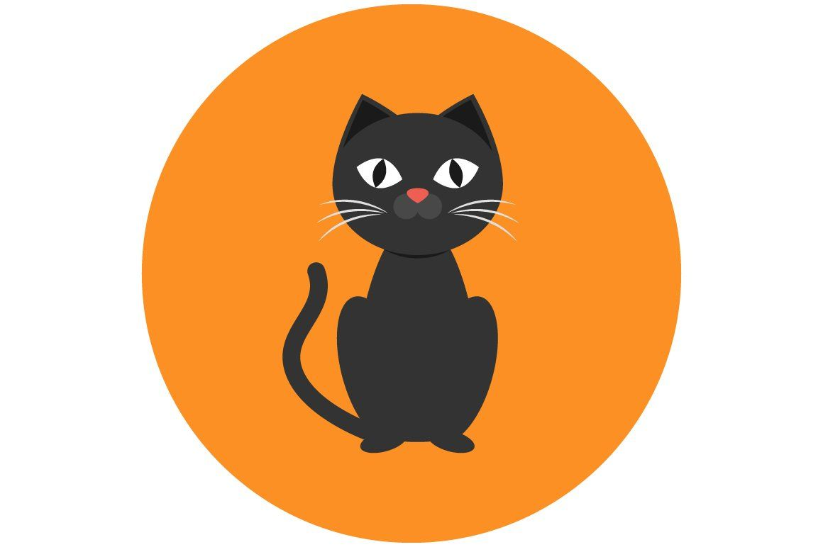 Black Cat Icon Flat In 2020 Cat Icon Face Icon Halloween Illustration