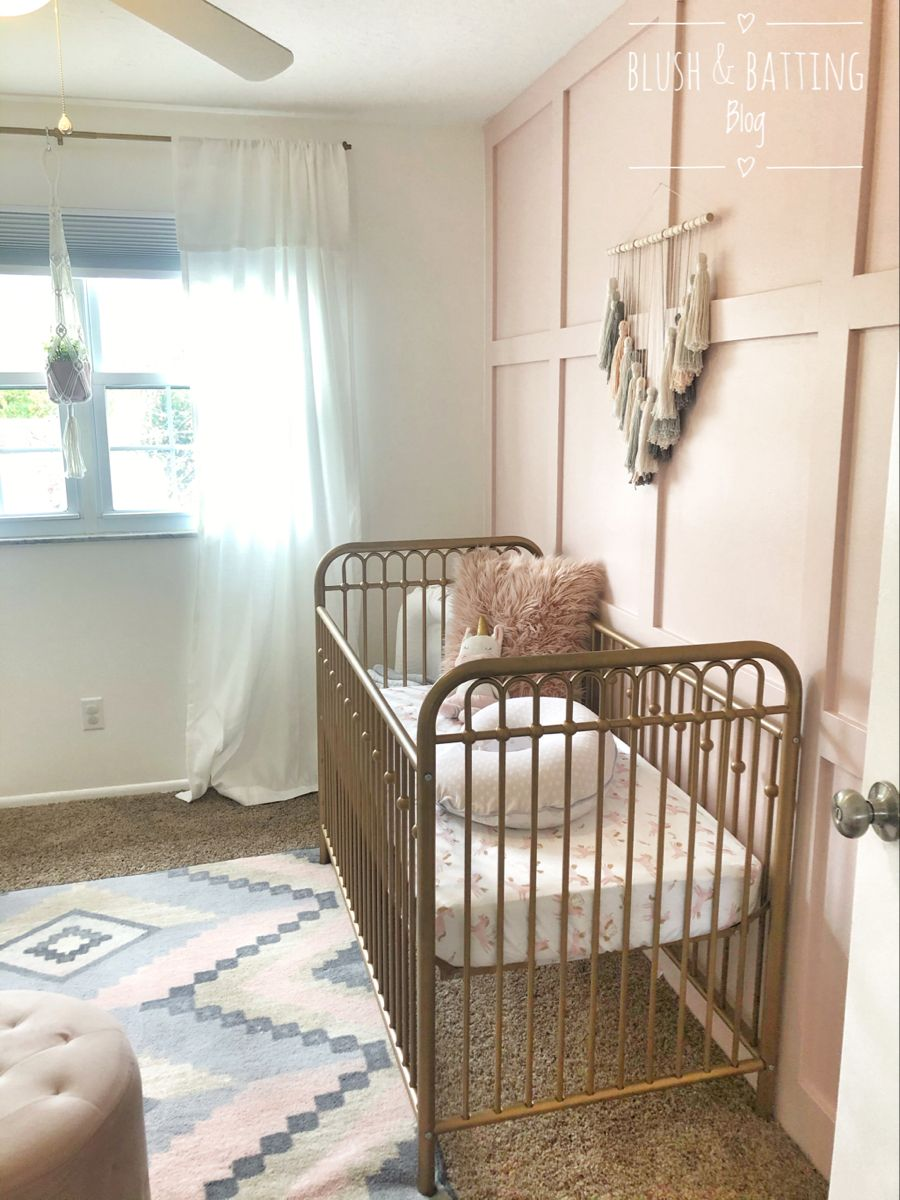 Blush And Batting Blog | Baby Girl Nursery Tour | Gold, Pink And Gray Boho/Unicorn Nursery - BLUSH AND BA… In 2020 | Baby Girl Nursery Pink, Gold Crib Nursery, Girl Nursery