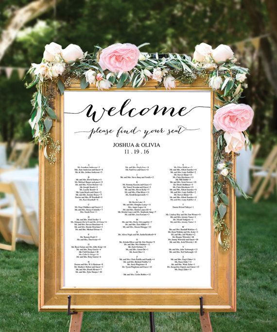 Wedding Seating Chart Editable PDF Table Arrangement Sign DIY