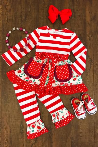 raine red floral ruffle boutique outfit