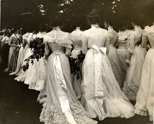 Fashionable ladies at a lawn party circa 1890