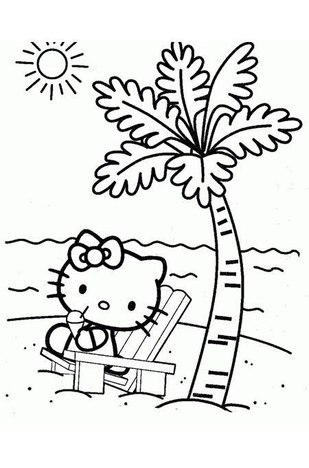 صورة كيتي للتلوين وهي تجلس على كرسي على شاطئ البحر Hello Kitty Colouring Pages Hello Kitty Coloring Hello Kitty Printables