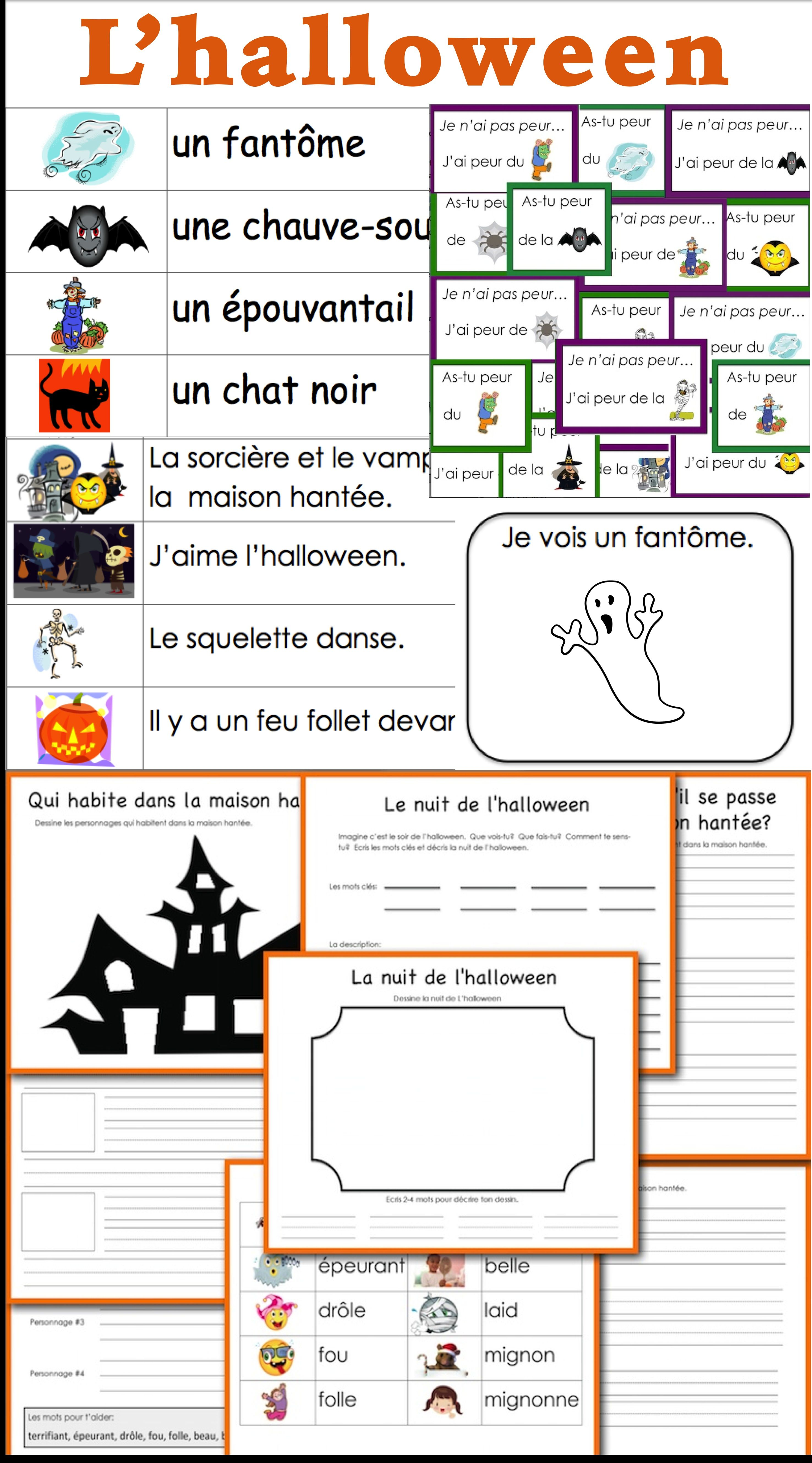 Lhalloween French Halloween Vocabulary And Writing Activities
