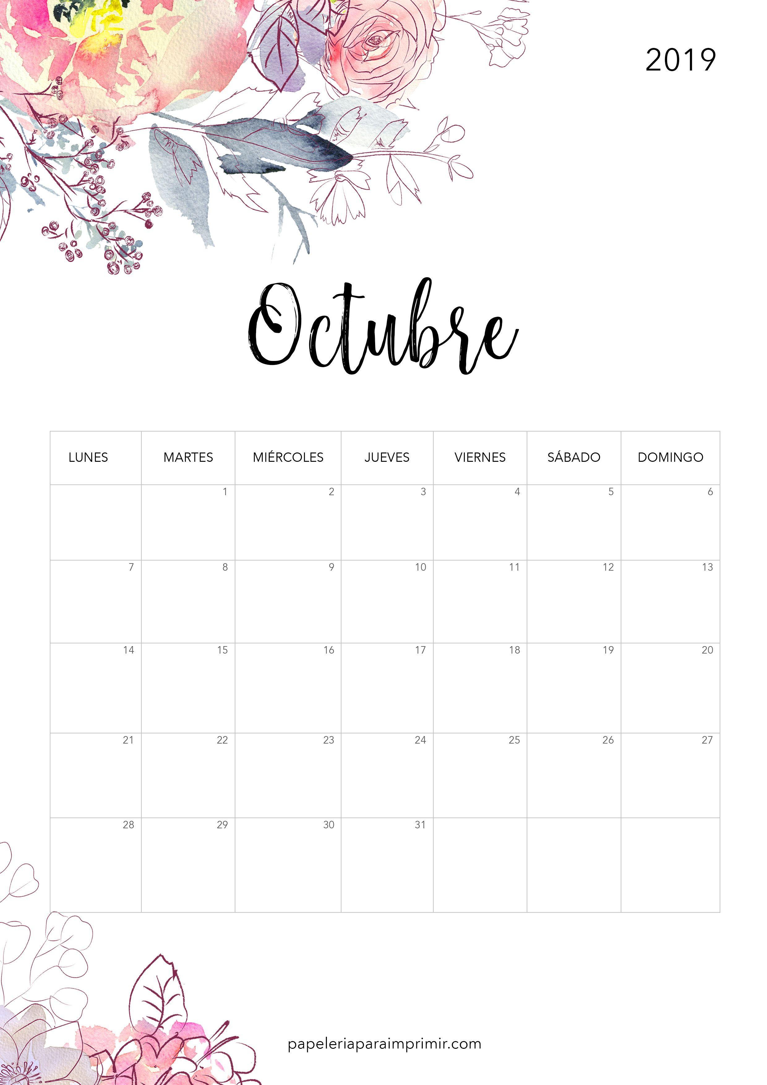 Calendario De Septiembre 2019 Para Imprimir Animado.Calendario Para Imprimir Octubre 2019 Calendario Imprimir