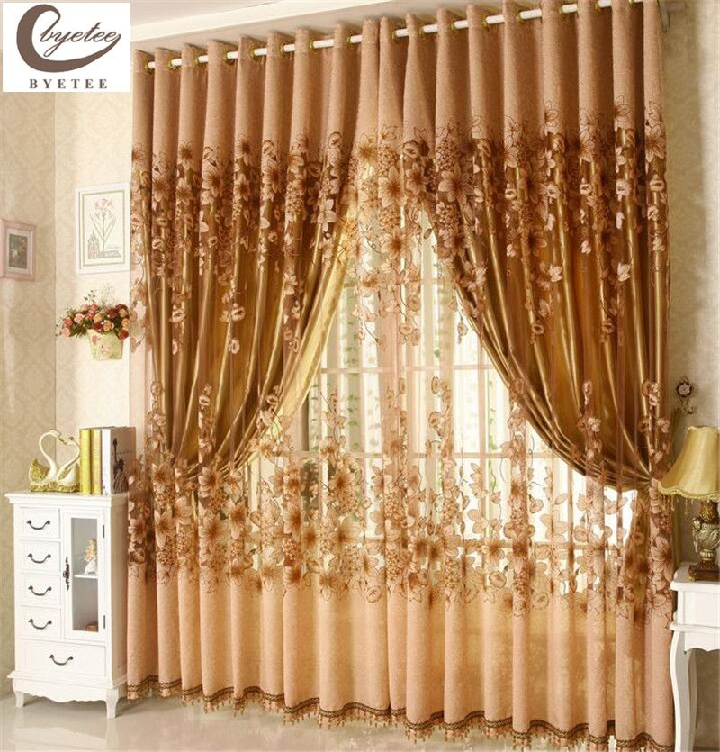 [Visit To Buy] Byetee Luxury Window Living Room Tulle Window Curtains  Kitchen Window Curtains Door Finished European Sheer Curtains