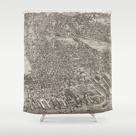 Vintage Map Of Jersey City Nj 1883 Shower Curtain