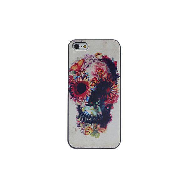 [EUR € 2.75] - decorado crânio desenho padrão black frame caso difícil... ($2.99) ❤ liked on Polyvore featuring accessories, tech accessories, phone cases, phone, iphone, case and caso