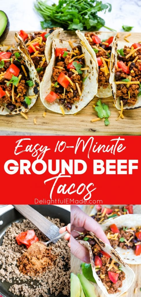 Easy 10 Minute Ground Beef Tacos In 2020 Ground Beef Tacos Tacos Beef Taco Recipes Ground Beef
