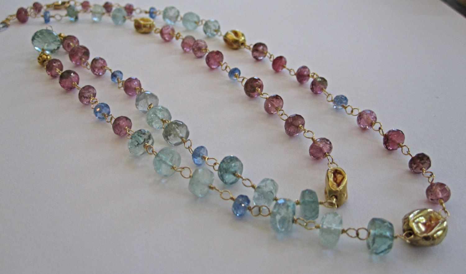 """18K Solid Gold~ AAA Raspberry Tourmaline & Santa Maria Aquamarine Necklace~ 24"""" by rachelrosedesigns on Etsy"""