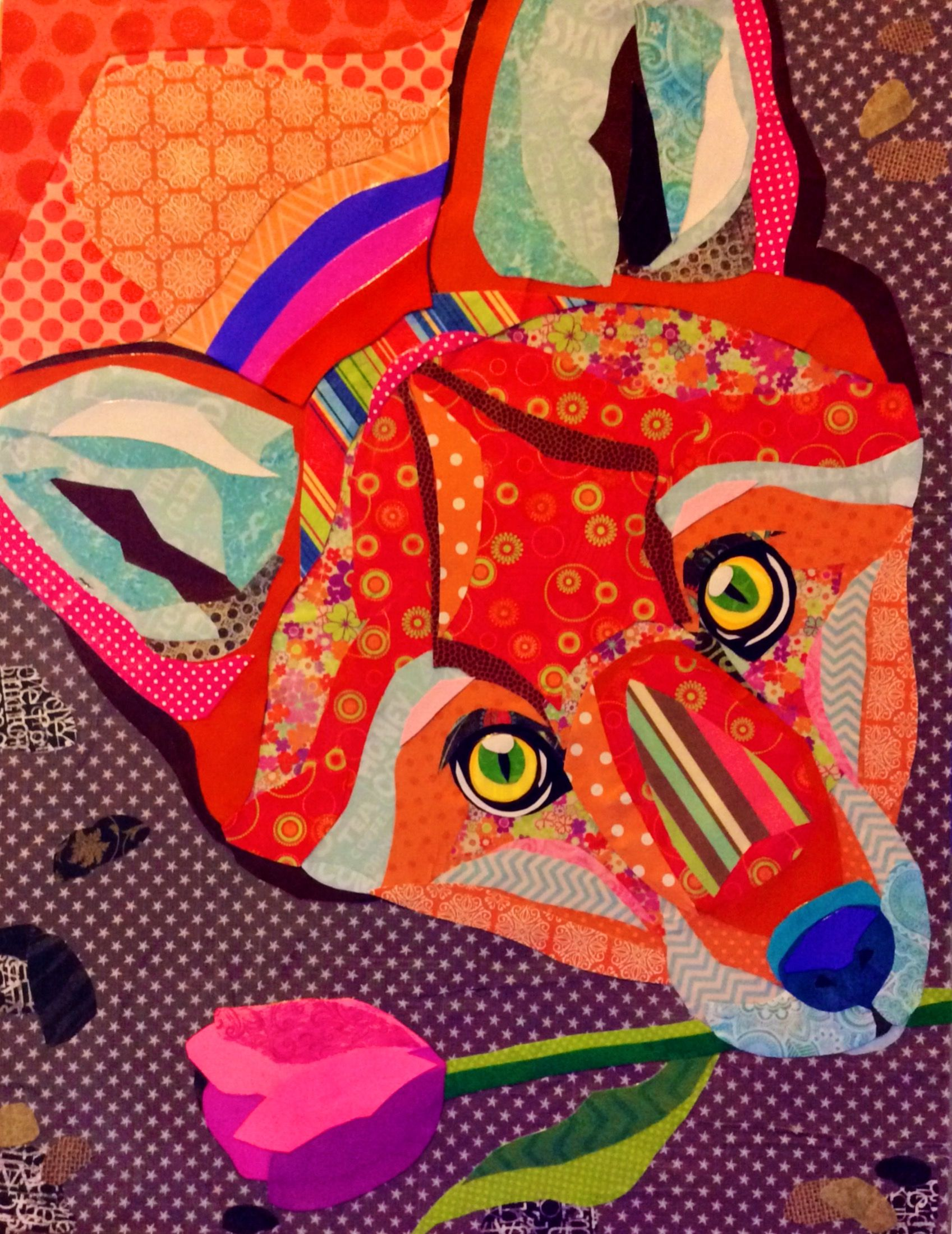 Scrapbook paper collage - Scrapbook Paper Collage Art Friendly Fox By Laura Yager Foxes In Artwork Abstract Animal Artwork Fox Art