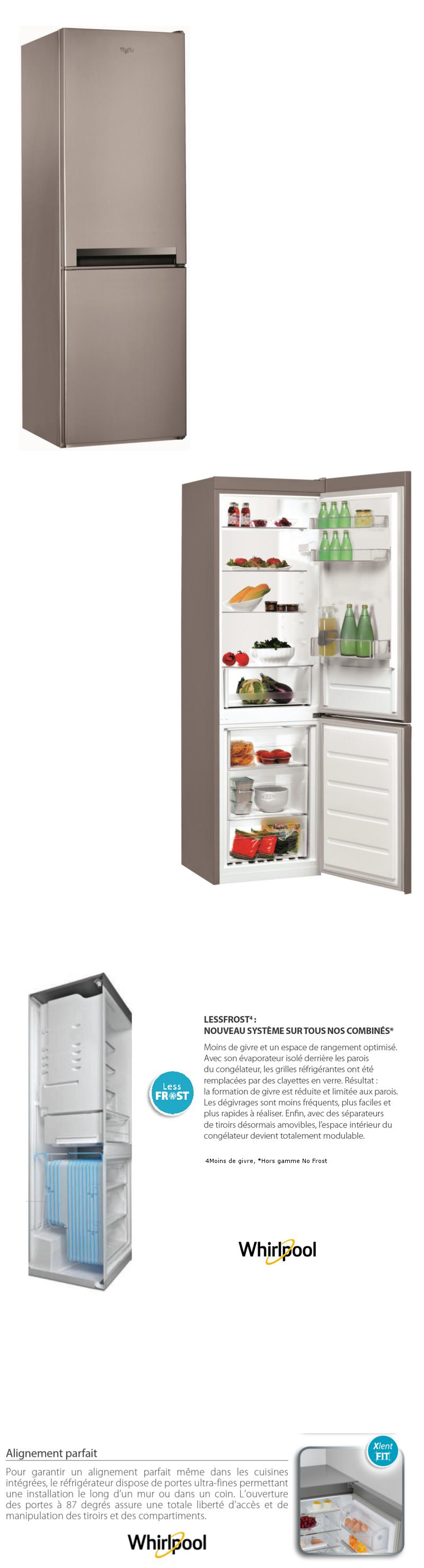 whirlpool blf8001ox -réfrigérateur congélateur bas-339l (228+111