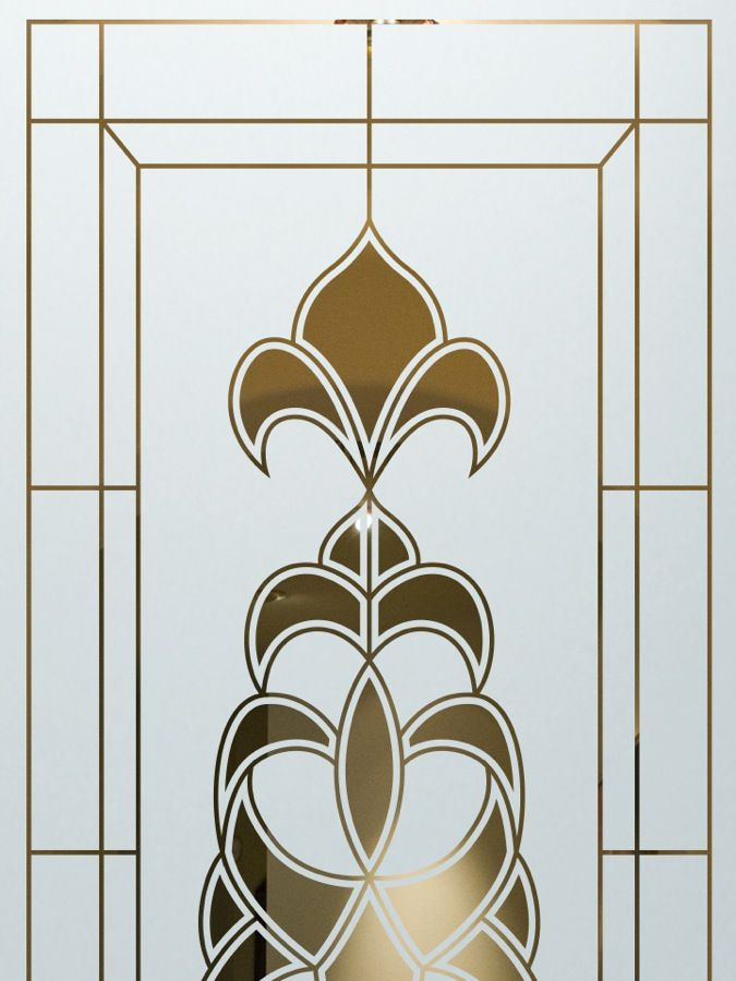 Sandblasted Glass Etched Glass Designs Fleur De Lis Ornate French