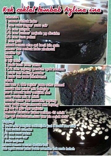 Kek Coklat Lembap Airtangan Azlina Ina Cake Recipes