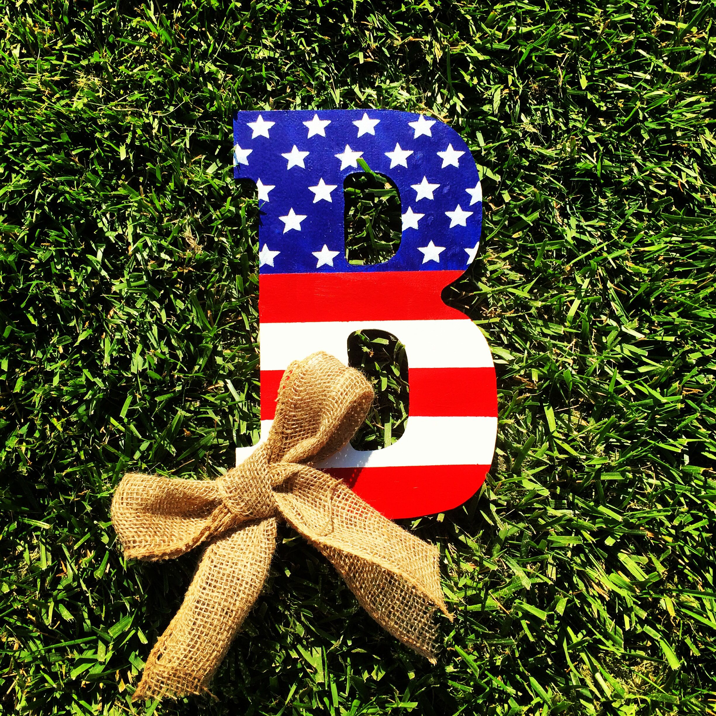 American Flag Painted Wooden Letter To Hang On A Front Door Stuff