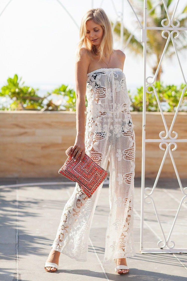 e093b45b23a8 Summer Dress Women Beach Cover Up Sexy White Lace Siamese Pants ...