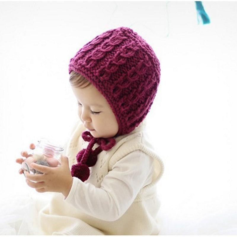 fae533984e1 1Pcs Baby Hat Bonnet Autumn Winter Handmade Wool Ear Knitting Hats Newborn  Baby