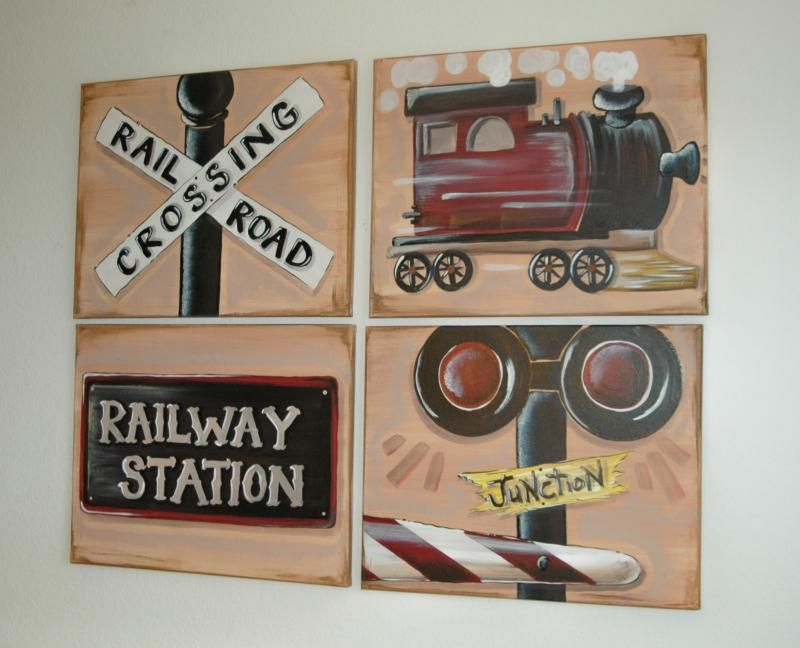 Train Wall Art vintage train bedroom | austin*artworks - trains fire trucks