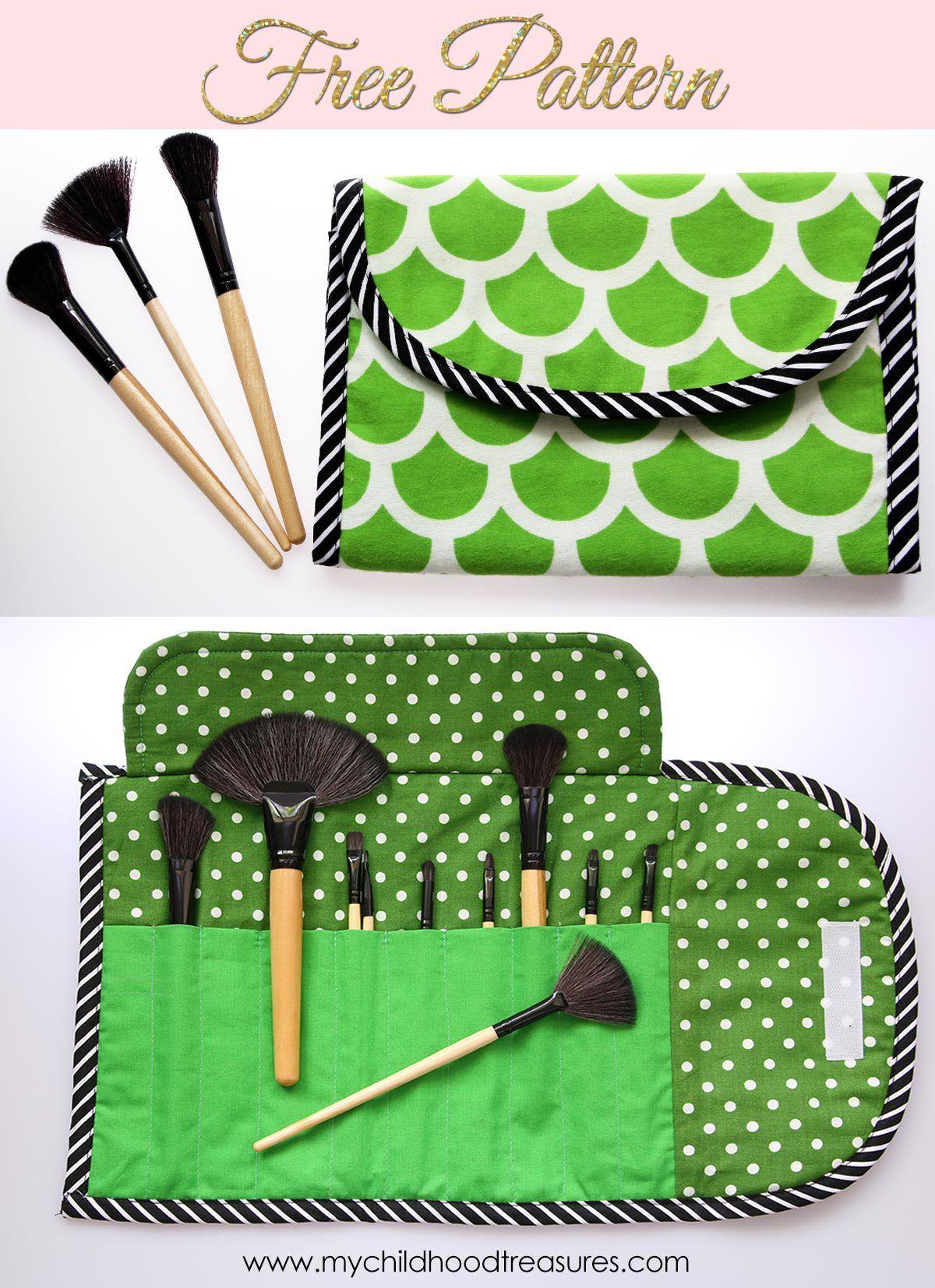 DIY Makeup Brush Holder {Brush Roll} Free Pattern Diy