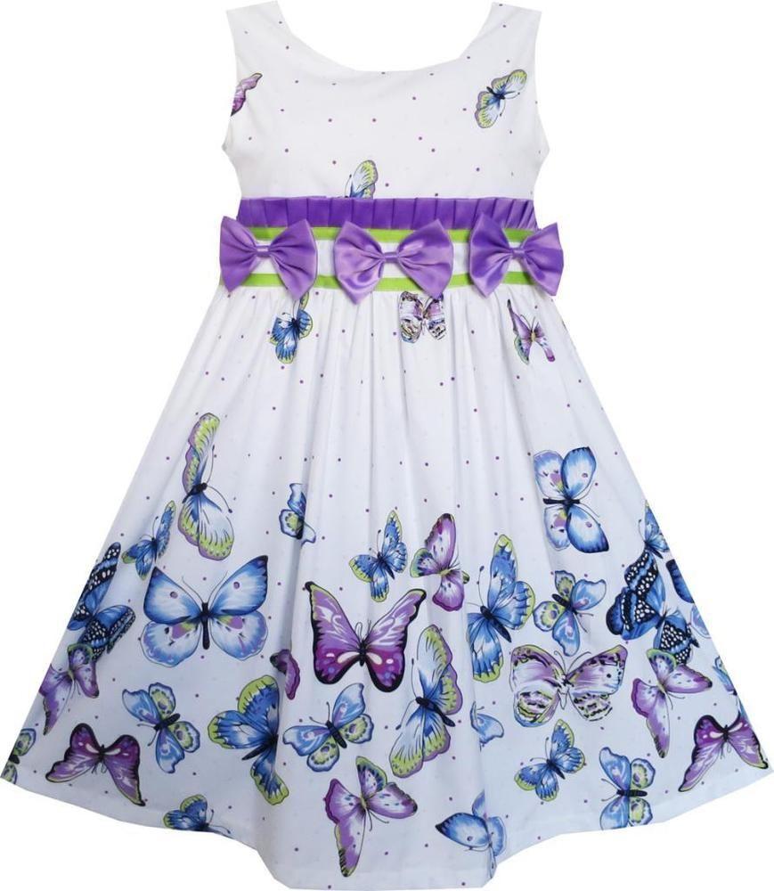 Mädchen Kleid Lila Blau Schmetterling drucken Dreifach Bogen Binden ...