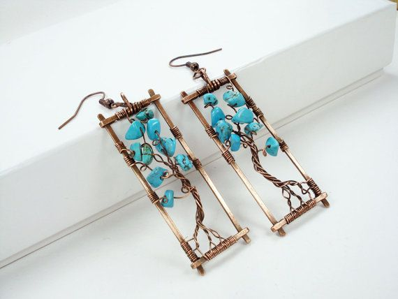 Turquoise Rectangular Tree of Life Earrings, Copper Wire Wrap Hand Forged Metal Geometric Earrings, Women Boho Bohemian Art Jewelry, OOAK
