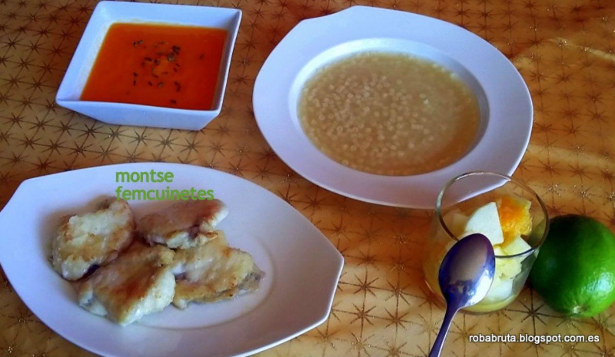 Hoy cocinamos: Sopa de caldo con pistones, medallones de rape y macedonia de frutas con lima.
