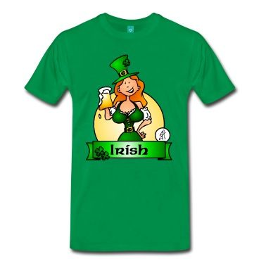 An Irish maiden drinks a large beer on St. Patrick's Day. T-shirt design by #Cardvibes #Telenaarttje #Spreadshirt #SOLD #StPatricksDay