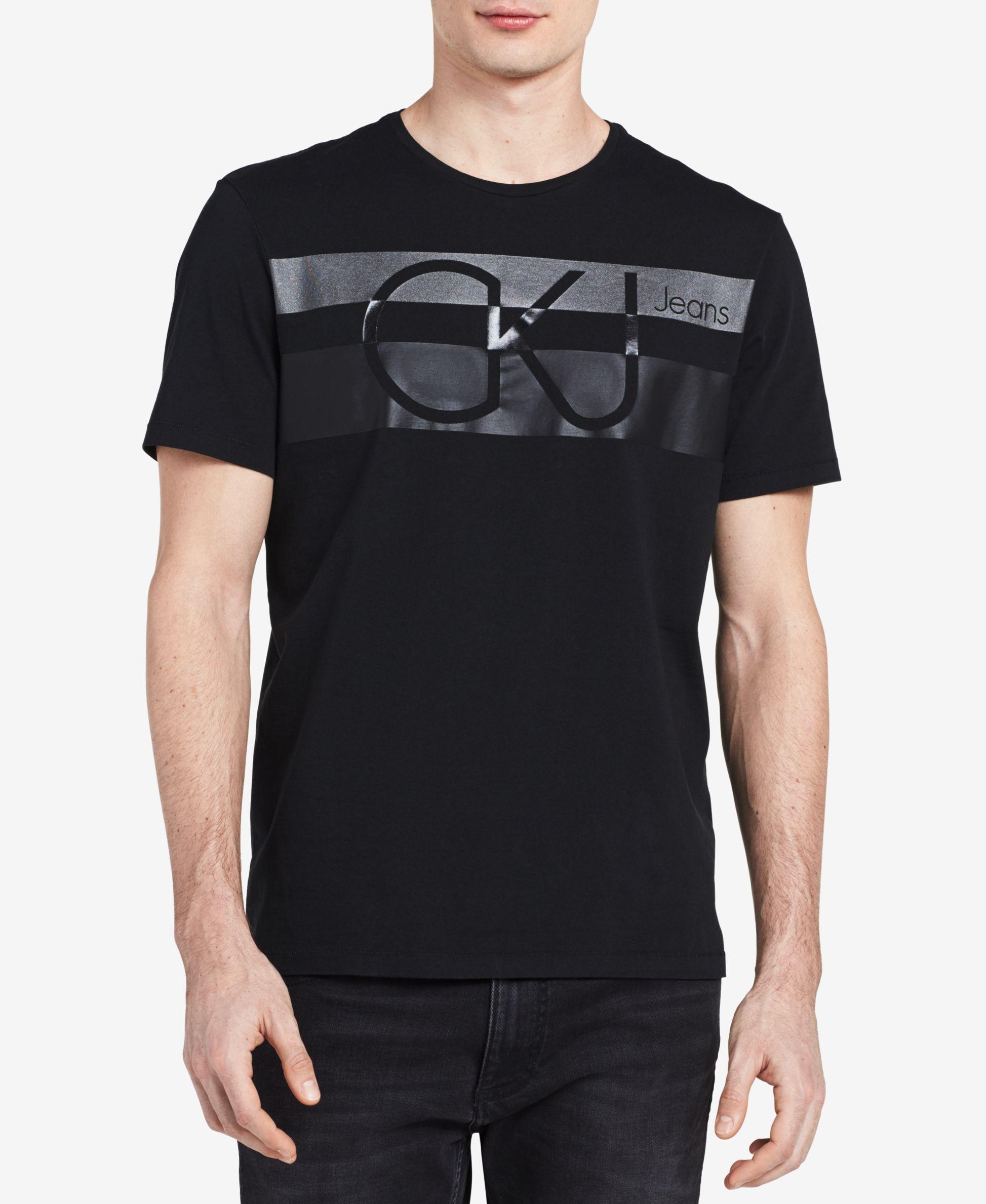 3ac5f7c6 Calvin Klein Jeans Men's Stripe Logo-Print T-Shirt Hang Ten, Calvin Klein