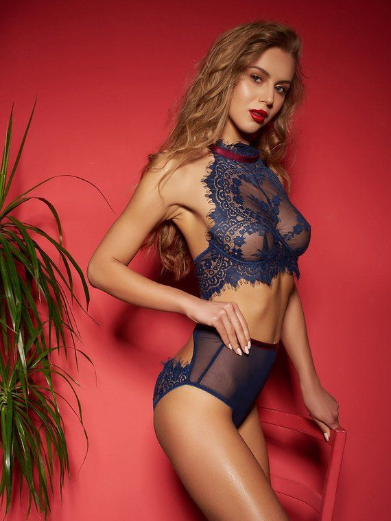 04a1f5b605 high waist lingerie set   halter bra high rise brief panties   lace mesh  sheer lingerie   underwire