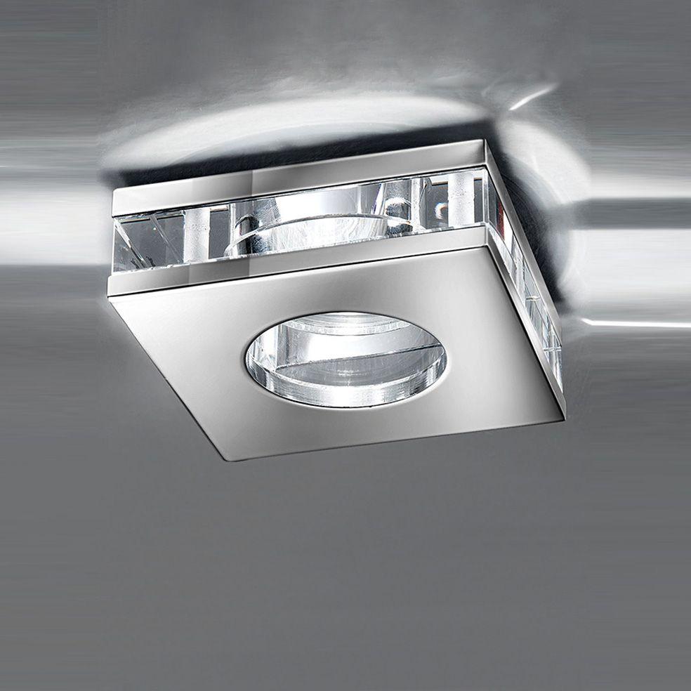 Franklite Rf267 Ip65 Chrome Finish Recessed Crystal Downlight Downlights Glass Bathroom Shower Lighting