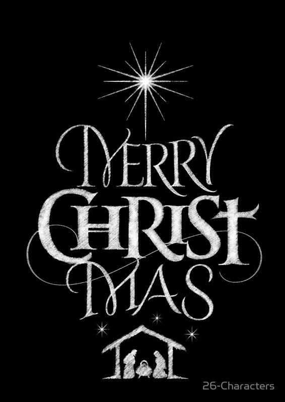 """""""Frohe Weihnachten religiöse christliche Kalligraphie Christ Mas Chalkboard Jesus Nativity"""" ausgestattet Scoop T-Shirt von 26 Zeichen   – Christmas"""