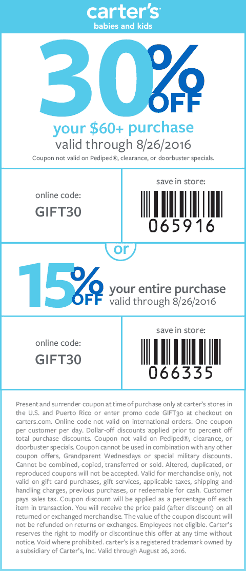 Pinned August 25th 15 30 Off At Carters Or Online Via Promo Code Gift30 Baby Coupons Coupons Online Coding