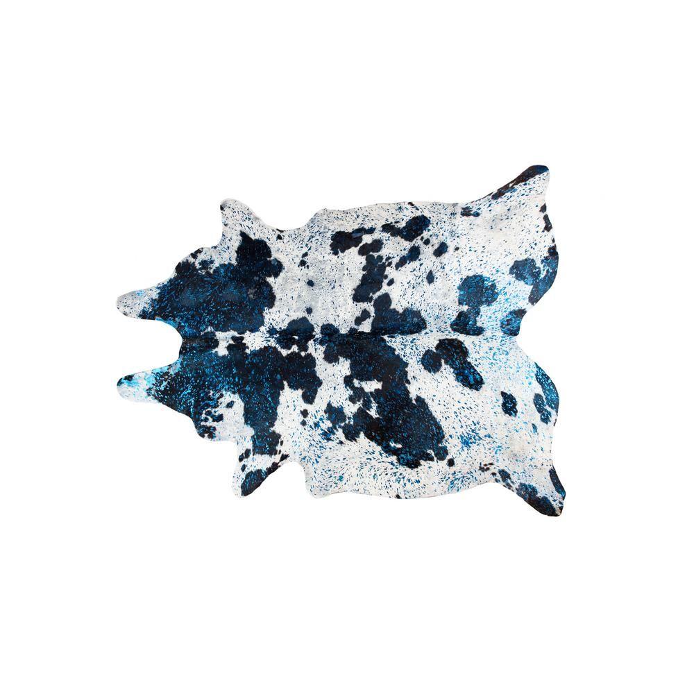 Natural Scotland Cowhide Black White Metallic Blue 6 Ft X 7 Ft
