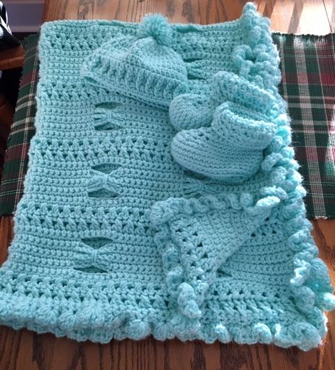 Butterfly Wings baby blanket (I Love This Yarn / Aqua ...
