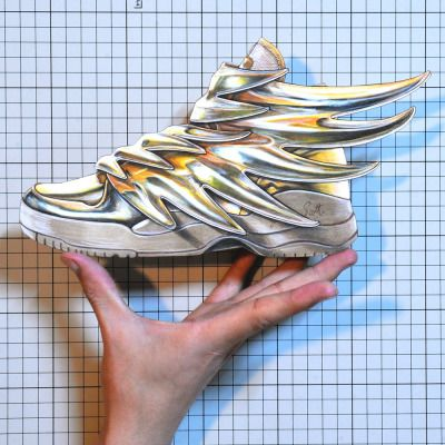 "Shoe on a Palm:00343 ""Jeremy Scott x adidas Originals"" JS Wings 3.0 Gold Sneakerillustration by Jumpei Kawamura"