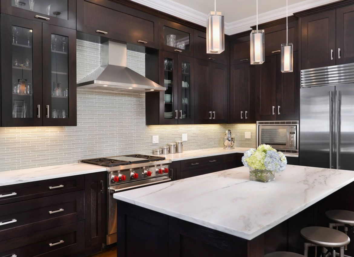 30 Classy Projects With Dark Kitchen Cabinets in 2020 ... on Backsplash Ideas For Dark Cabinets And Light Countertops  id=36317