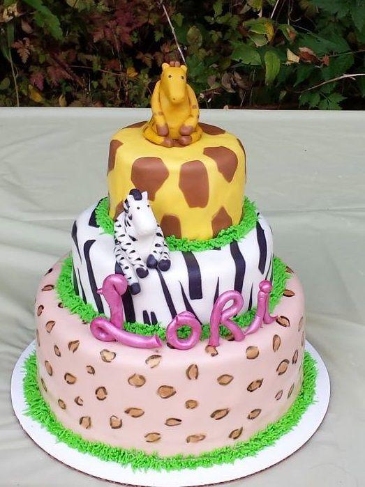 Jungle Safari themed birthday cake with cheetahleopard print zebra