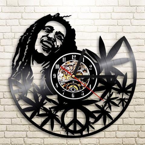 horloge murale rasta jama ca d coration murale vintage horloge personnalis bob marley. Black Bedroom Furniture Sets. Home Design Ideas