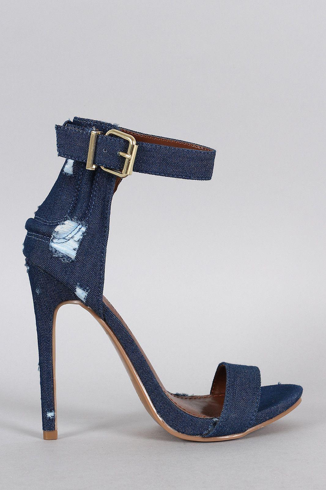 4d41410cccbb Shoe Republic LA Distress Denim Ankle Strap Heel