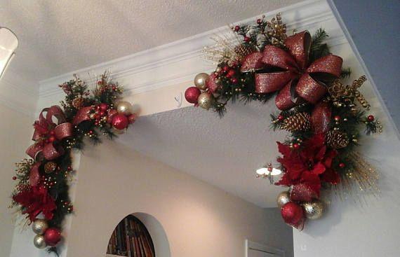 Christmas corner wreath garland swag fireplace mantel for Guirnaldas para puertas navidenas