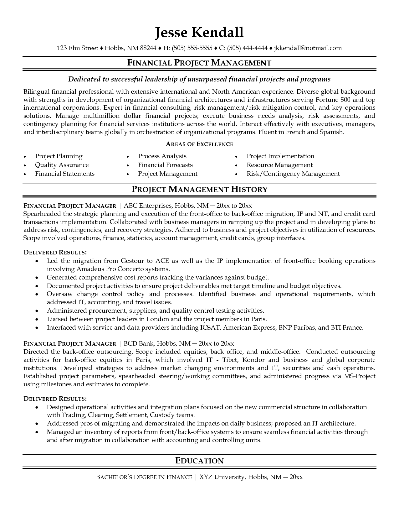 Project Coordinator Resume Sample Project Manager Resume Manager Resume Cover Letter For Resume
