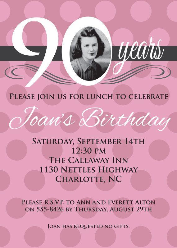Adult Birthday Invitation Pink Rose 90 80 70 60 50