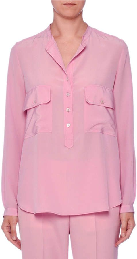 b6b6b485e00f Stella McCartney Two-Pocket Button-Placket Long-Sleeve Silk Blouse ...