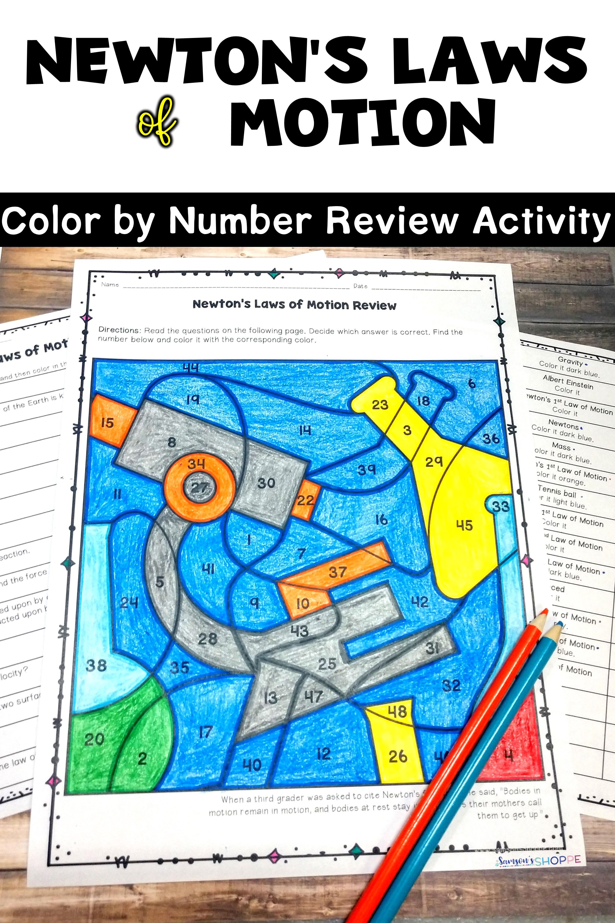 Newton\'s Laws of Motion EDITABLE Color by Number Review Activity ...