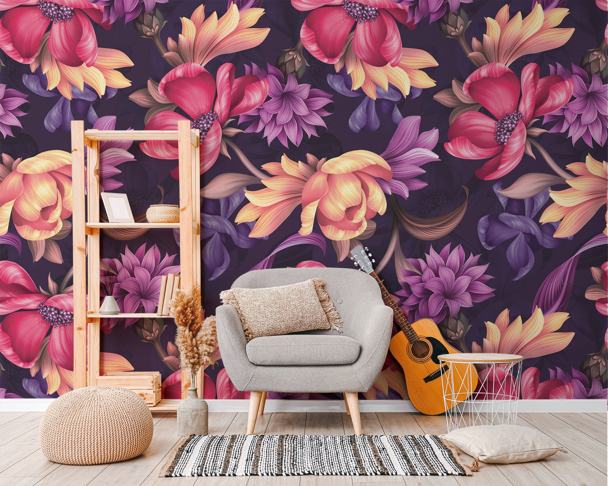 Purple Red And Yellow Floral Abstract Wallpaper Self Etsy In 2020 Abstract Floral Abstract Wallpaper Yellow Floral