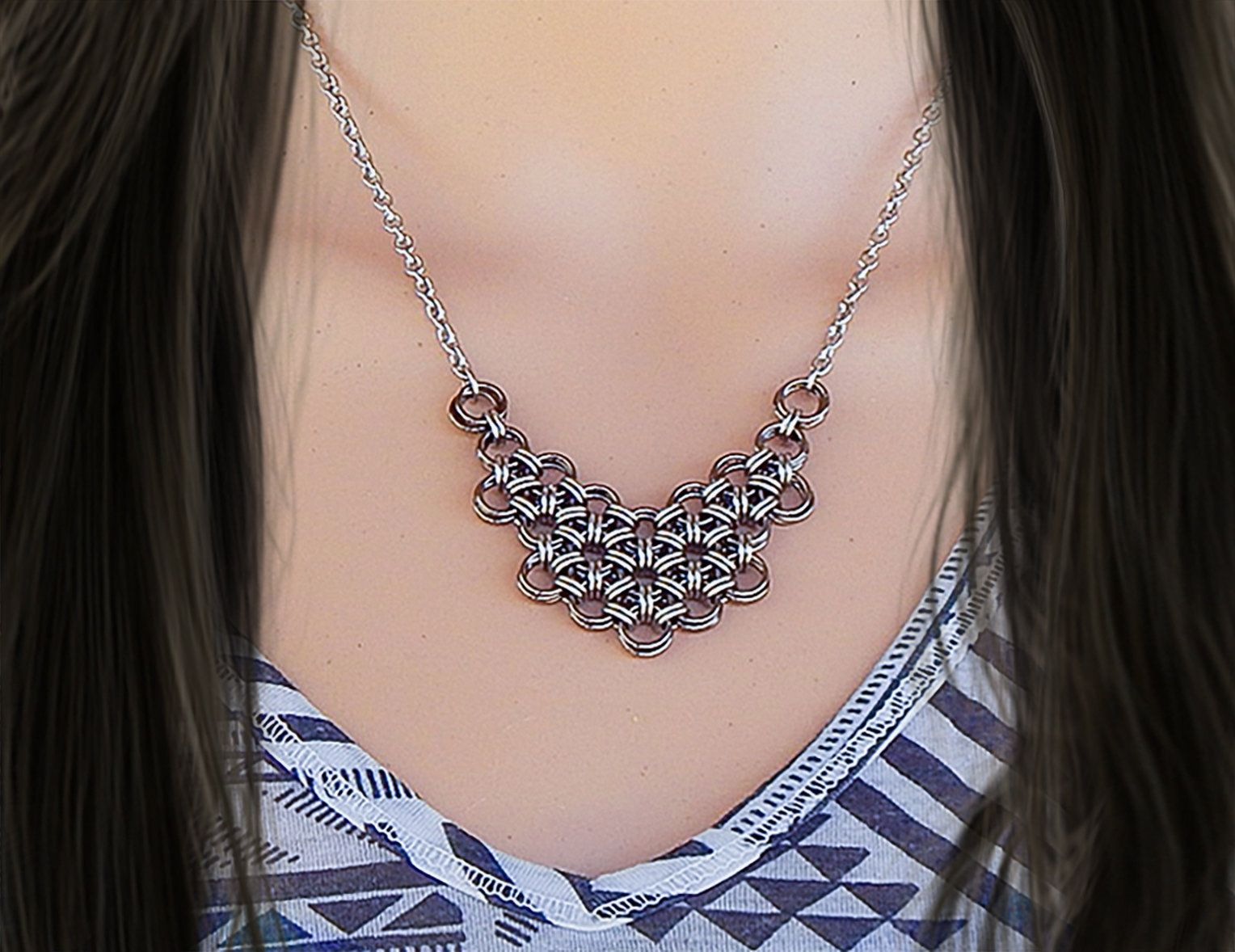 11th anniversary stainless steel necklace bib necklace