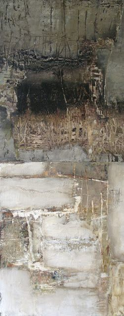 title unknown ~ mixed media ~ by jeane myers. i like this piece because it is old and looks worn and has a messy look of composition to it.