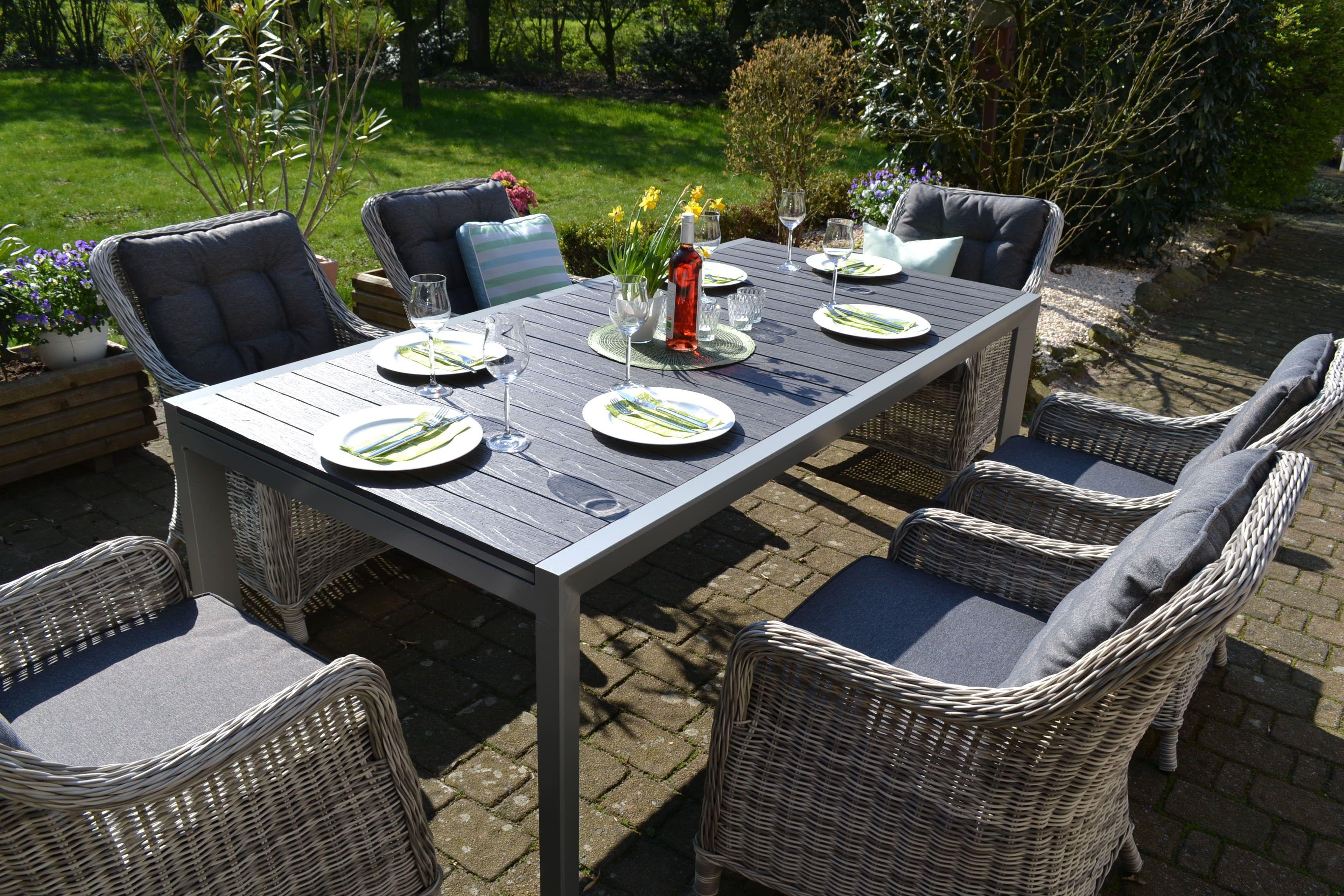 Essgruppe Neapel Xl Tisch Verlangerbar 203 305x100cm 8 Sessel