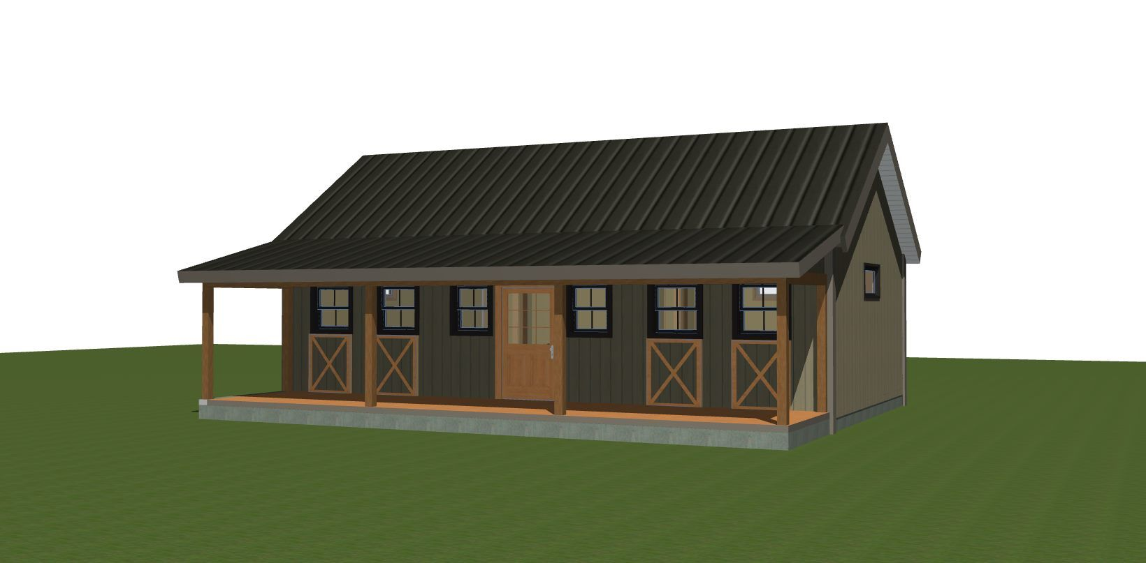 "Yankee Barn joins the tiny house community with this adorable (and versatile) 725 sq ft ""bunk house"" plan.  Visit to see floor plans."