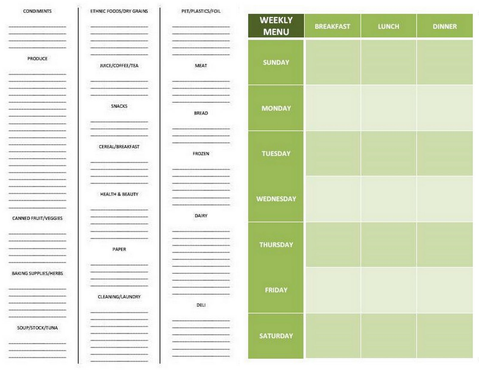 grocery list template by aisle