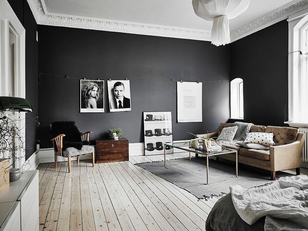 Dark walls, white ceiling, light wooden floor Living